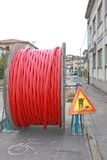Roadworks and a coil of wire with the excavation Royalty Free Stock Images