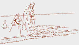 Roadworks. Construction worker with jackhammer Royalty Free Stock Images