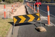 Roadworks Detour Sign Stock Photo