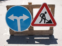 Roadworks and Detour Royalty Free Stock Photo