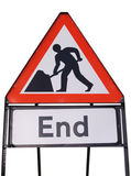Roadworks end sign. Isolated on white Stock Photo