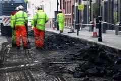 Roadworks för stadsmitt Royaltyfria Bilder