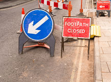 Roadworks -  Footpath Closed Stock Photography