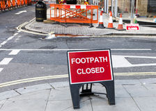 Roadworks: footpath closed Stock Photography
