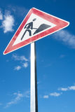 Roadworks. German road sign: roadworks ahead Stock Images
