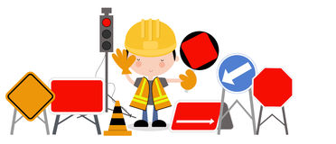 Roadworks Guy and Traffic Lights Royalty Free Stock Photo