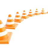 Roadworks orange cone composition as background Stock Photography