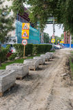 Roadworks paving slabs. Laying sidewalk on the waterfront of river Don in Rostov-on-Don, Russia, jule 2016 royalty free stock images