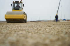 Roadworks and Road roller. Concept of Asphalt laying Royalty Free Stock Photos