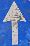 Roadworks, road sign, white arrow on blue Stock Photos