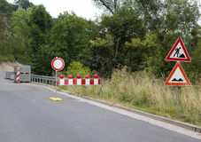 Roadworks roadsigns. Roadworks warning signs in countryside Stock Photos