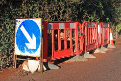 Roadworks Sign. Roadworks barriers on a road Royalty Free Stock Photo