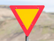 Roadworks sign, bright yellow Royalty Free Stock Photography