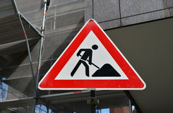 Roadworks sign close up Royalty Free Stock Image