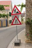 Roadworks sign - Germany Royalty Free Stock Image