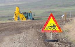 Roadworks sign - Iceland Royalty Free Stock Image