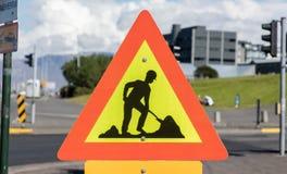 Roadworks sign - Iceland Royalty Free Stock Photo