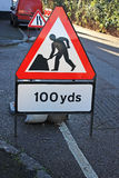 Roadworks sign. On a road Royalty Free Stock Photos