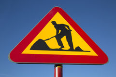 Roadworks Sign. In Urban Setting Royalty Free Stock Photo