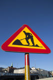Roadworks Sign in Urban Setting Royalty Free Stock Photography