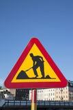 Roadworks Sign in Urban Site Stock Photo