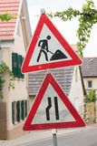 Roadworks sign - Germany Stock Photos