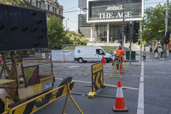 Roadworks on Spencer Street, Melbourne, Australia Stock Image
