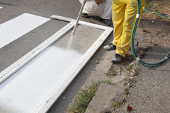 Roadworks, street lines painting Stock Image