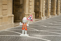 Roadworks on street with symbols Royalty Free Stock Photography