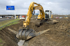 Roadworks to the highways, Netherlands Royalty Free Stock Photography