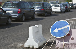 Roadworks and Traffic Jam Stock Image