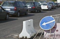 Roadworks and Traffic Jam Stock Image