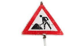Roadworks, under construction, men at works sign Stock Images