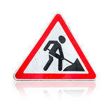 Roadworks, under construction sign on white Royalty Free Stock Image