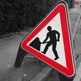 Roadworks znak Obrazy Stock