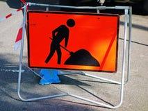 Roadworkvarningstecken Royaltyfri Foto