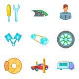 Roam icons set, cartoon style. Roam icons set. Cartoon set of 9 roam vector icons for web isolated on white background Royalty Free Stock Photos