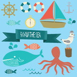 Roam the sea icons. Illustration icons of boat, sea animals, seagull, and ship stuff Stock Photos