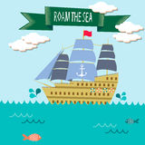 Roam the sea-sailing ship. Sailing ship illustration with ribbon tag said roam the sea Stock Images
