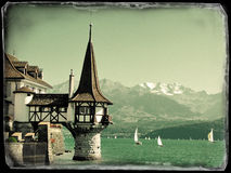 Roaman tower of the famous Oberfofen castle at the lake Thun, Sw Stock Photo