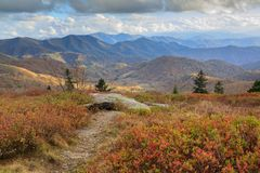 Roan Mountain NC Autumn Appalachian Trail Hike. Panoramic autumn view from Round Bald on Roan Mountain Appalachian Trail on the border of North Carolina and Stock Images