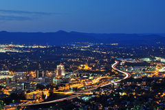 Roanoke City. As seen from Mill Mountain Star at dusk in Virginia, USA Royalty Free Stock Photos