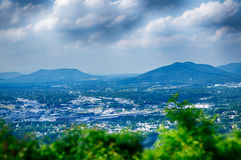 Roanoke City as seen from Mill Mountain Star at dusk in Virginia Stock Photos