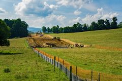 Mountain Valley Pipeline on Its Way to Crossing the Blue Ridge Parkway, Virginia, USA Stock Images