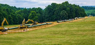 Mountain Valley Pipeline Using Heavy Construction Equipment - 2. Roanoke County, Virginia USA – July 20th: Mountain Valley Pipeline MVP using heavy stock images