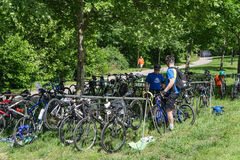 Roanoke Greenway Adventure Triathlon - Bikes Royalty Free Stock Photography