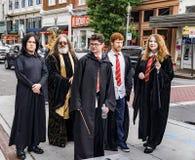 Roanoke Harry Potter Festival. Roanoke, VA – May 13th: Festival goers in costume at the Roanoke Harry Potter Festival Center in the Square located in stock image