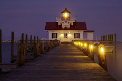 The Roanoke Marshes Lighthouse at dus Royalty Free Stock Images