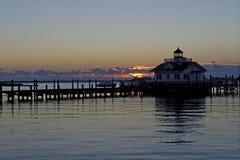 Roanoke Marshes Lighthouse at Sunrise Stock Photography