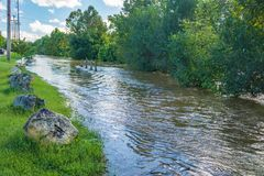Roanoke River Greenway - Flood of 2018 Stock Photos